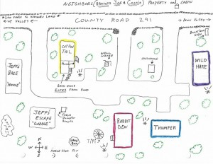 Hand drawn exterior cabin location on property
