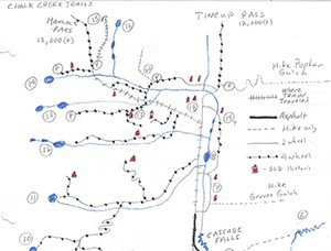Hand drawn map of surrounding area